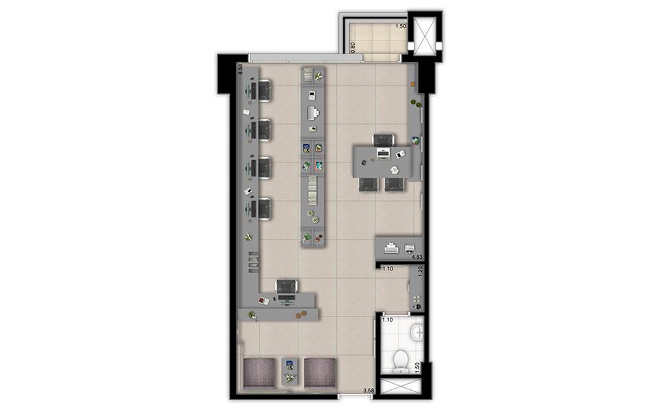 46 m² Apto decorado