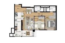 64,9 m² - Opção com living ampliado - Equilíbrio - Tecnisa