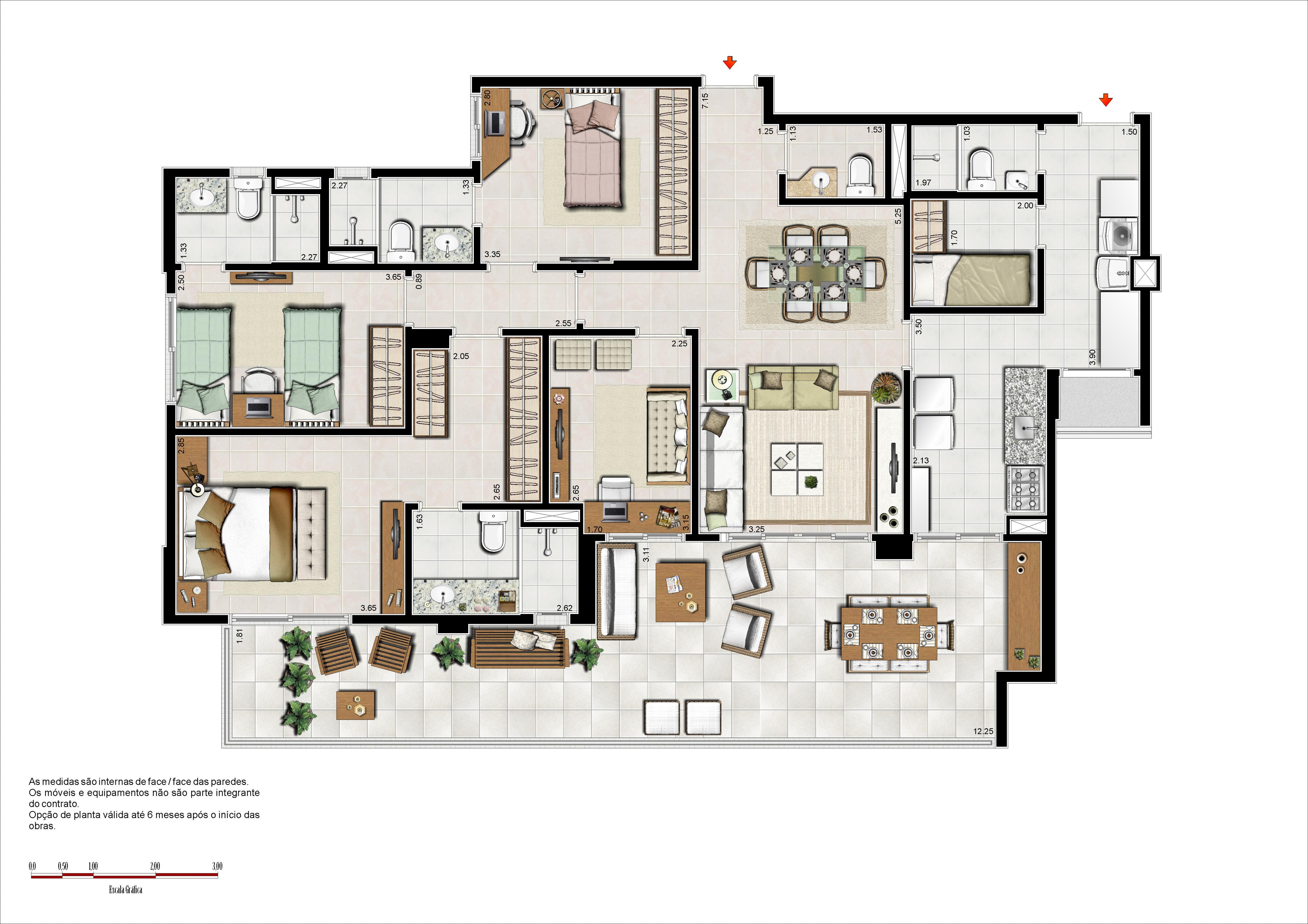 133 m² - 3 suítes - 1º pav