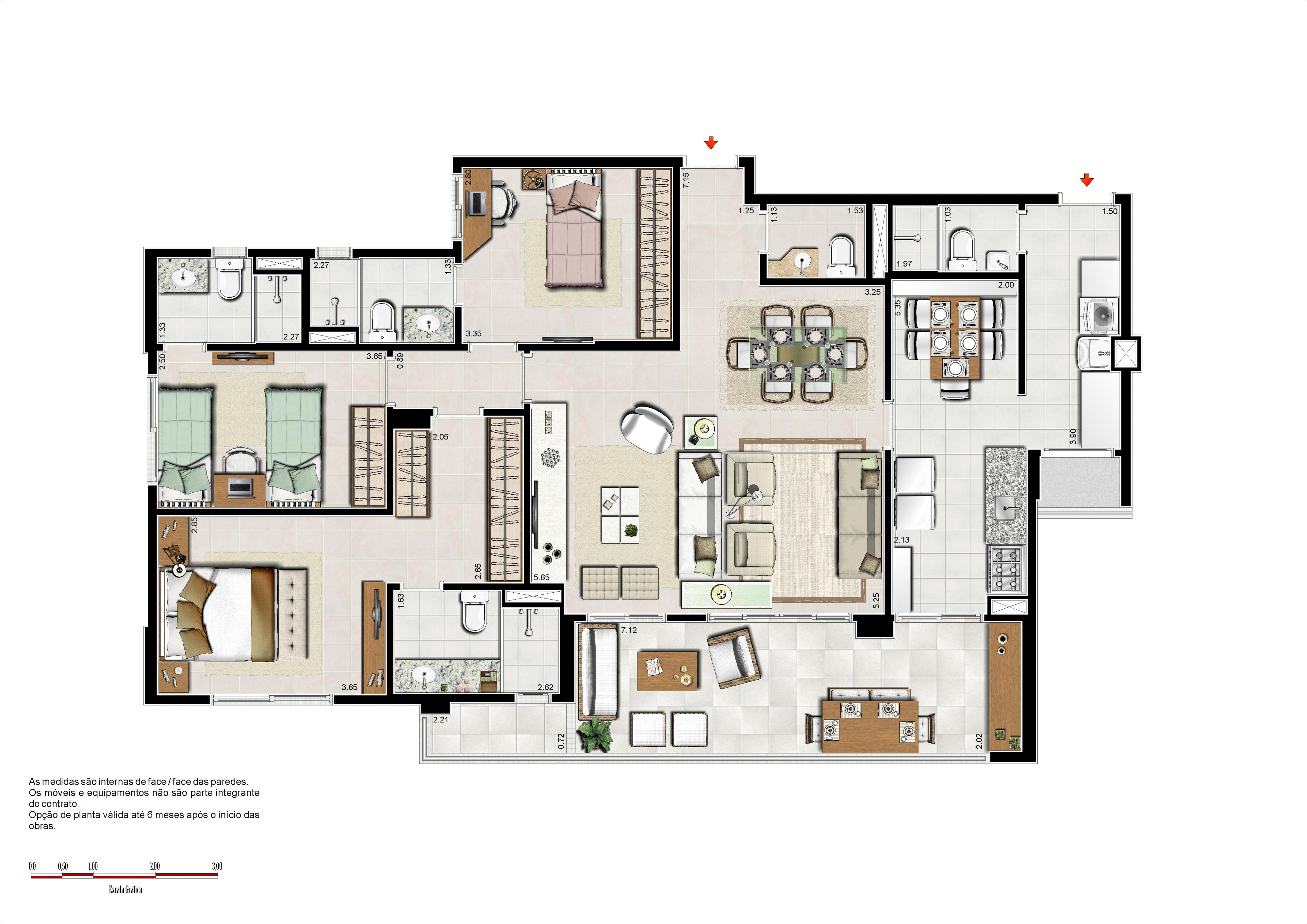 133 m² - 3 suítes com copa e sala ampliada
