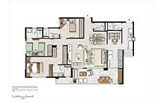 133 m² - 3 suítes com copa e sala ampliada - Le Boulevard - Place Vendôme - Tecnisa