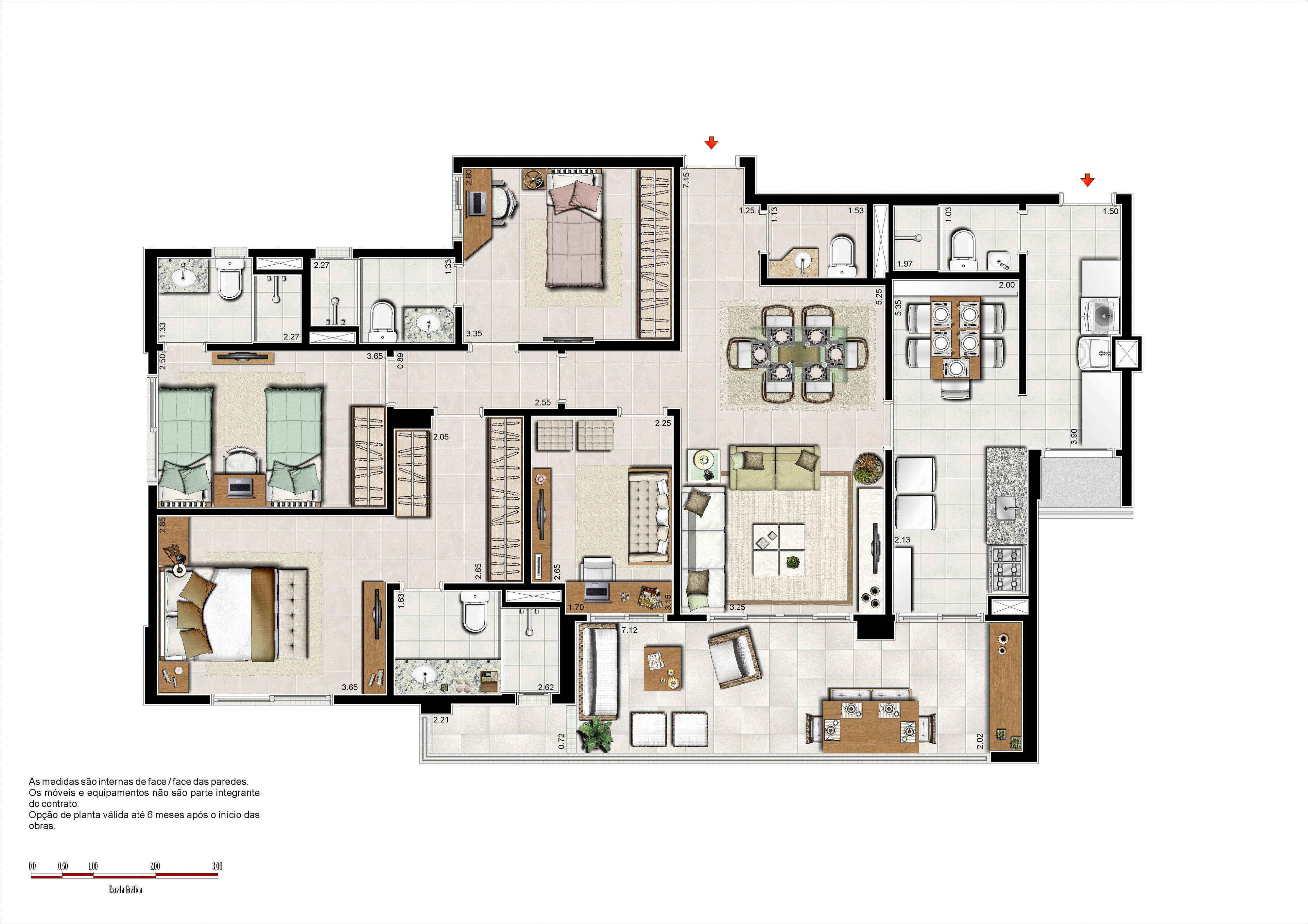 133 m² - 3 suítes com copa