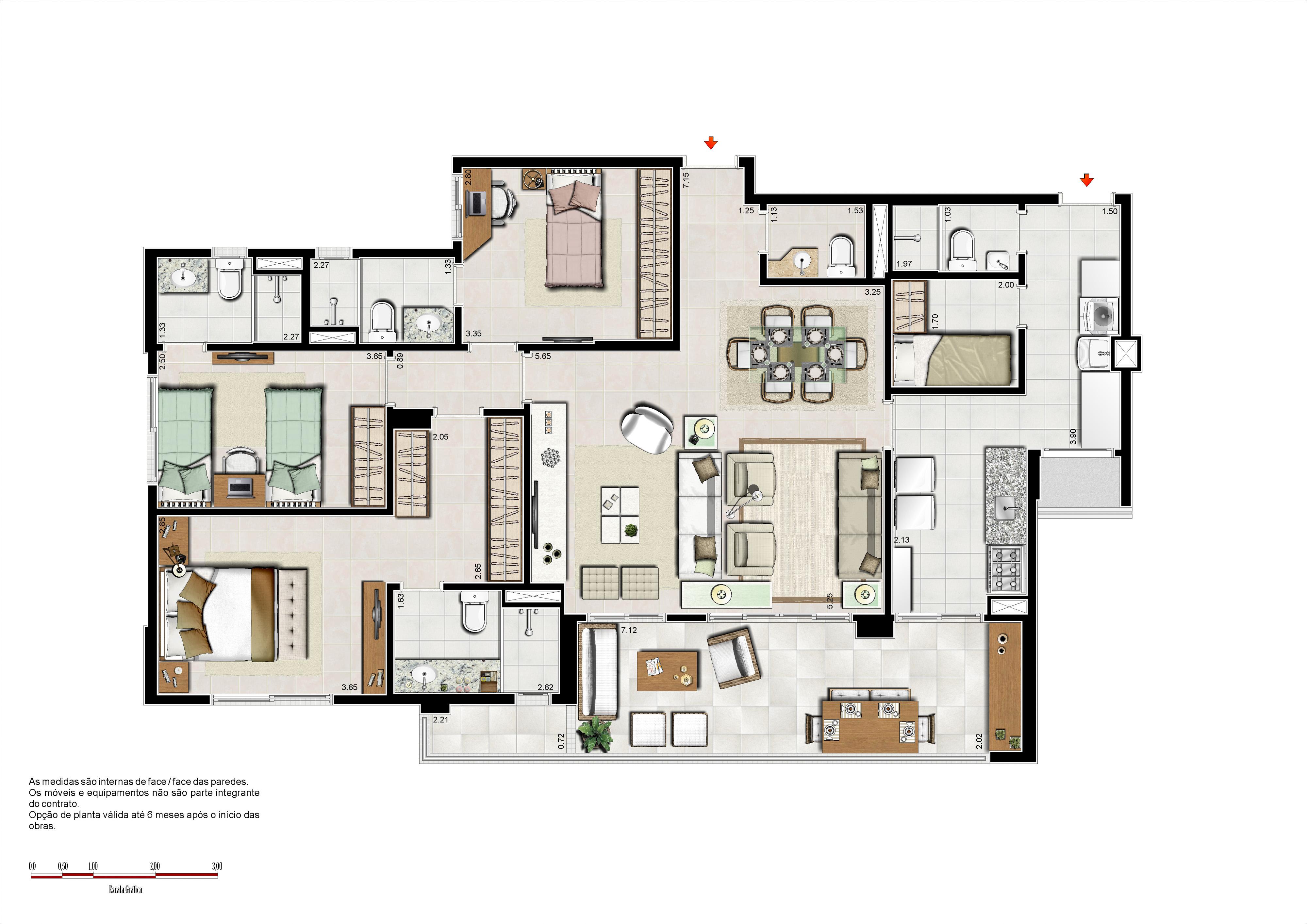 133 m² - 3 suítes com sala ampliada