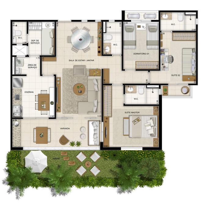 113 m² - 3 dorms - 1º pavimento