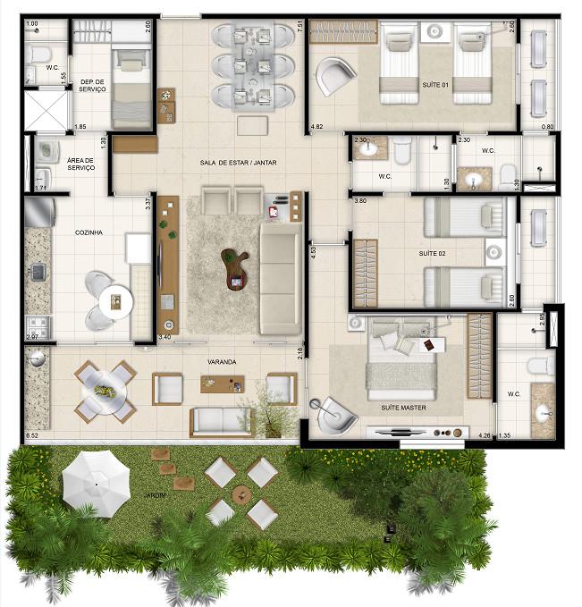 126 m² - 3 suítes - 1º pavimento