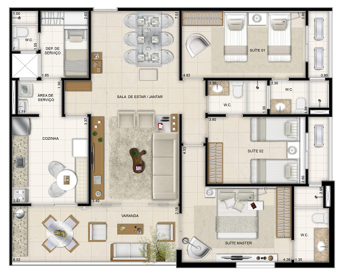 126 m² - 3 suítes