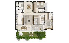 148 m² - 3 suítes - 1º pavimento - Mandara Kauai - Tecnisa