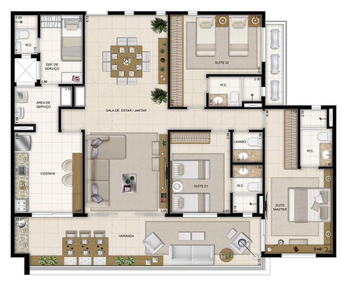 148 m² - 3 suítes