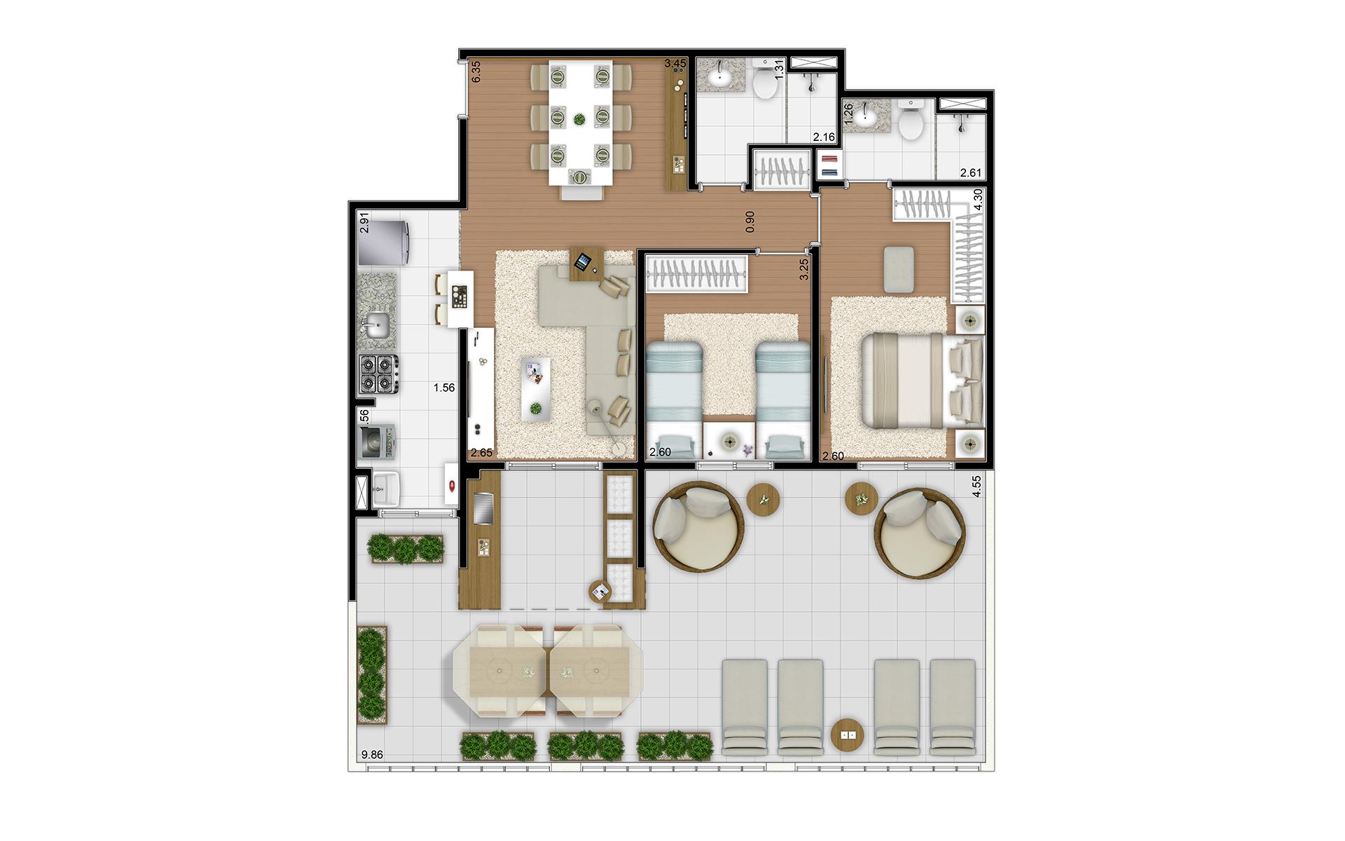 109 m² - 2 dorms - Térreo final 6