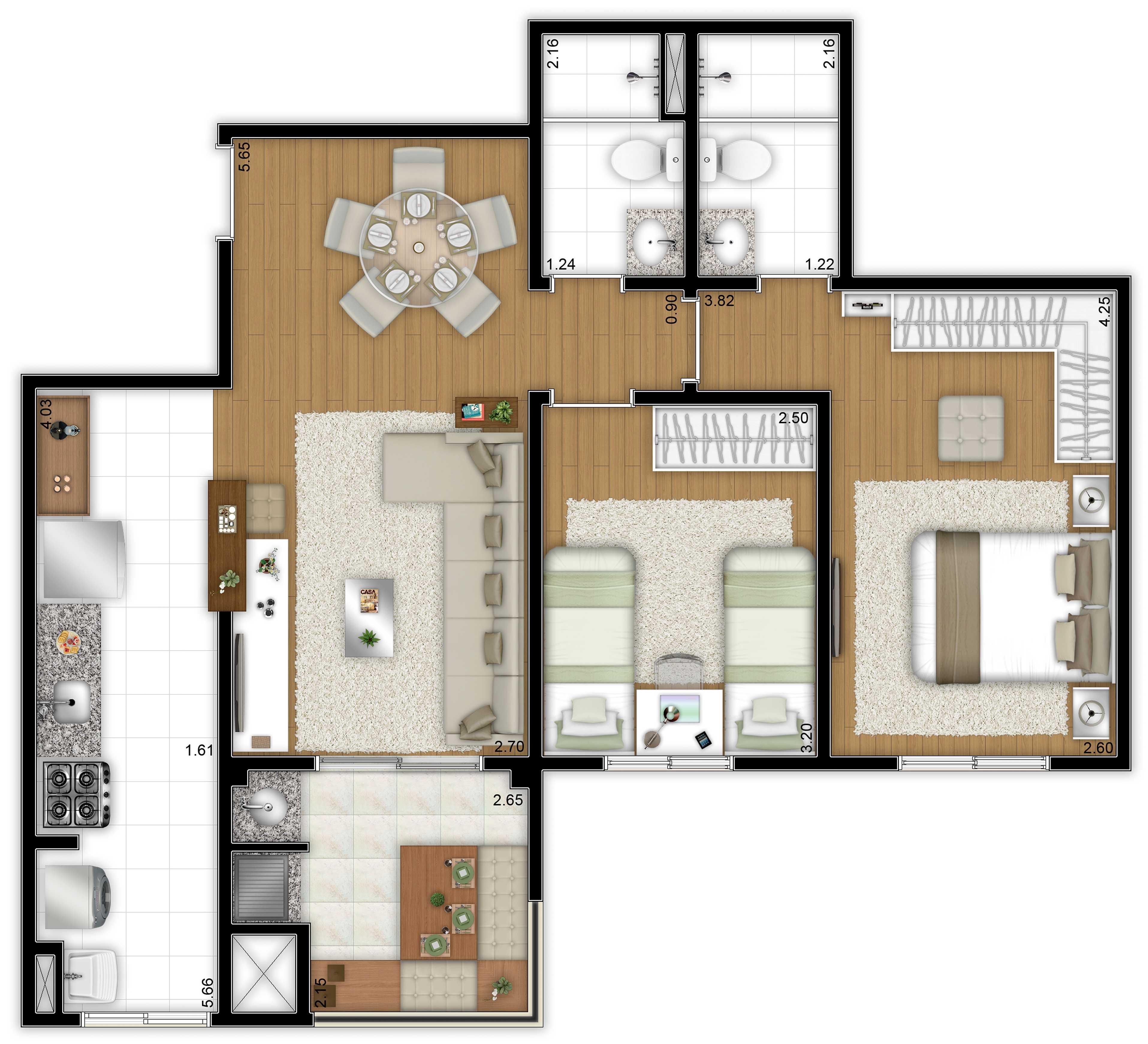 65,86m² - 2 dorms