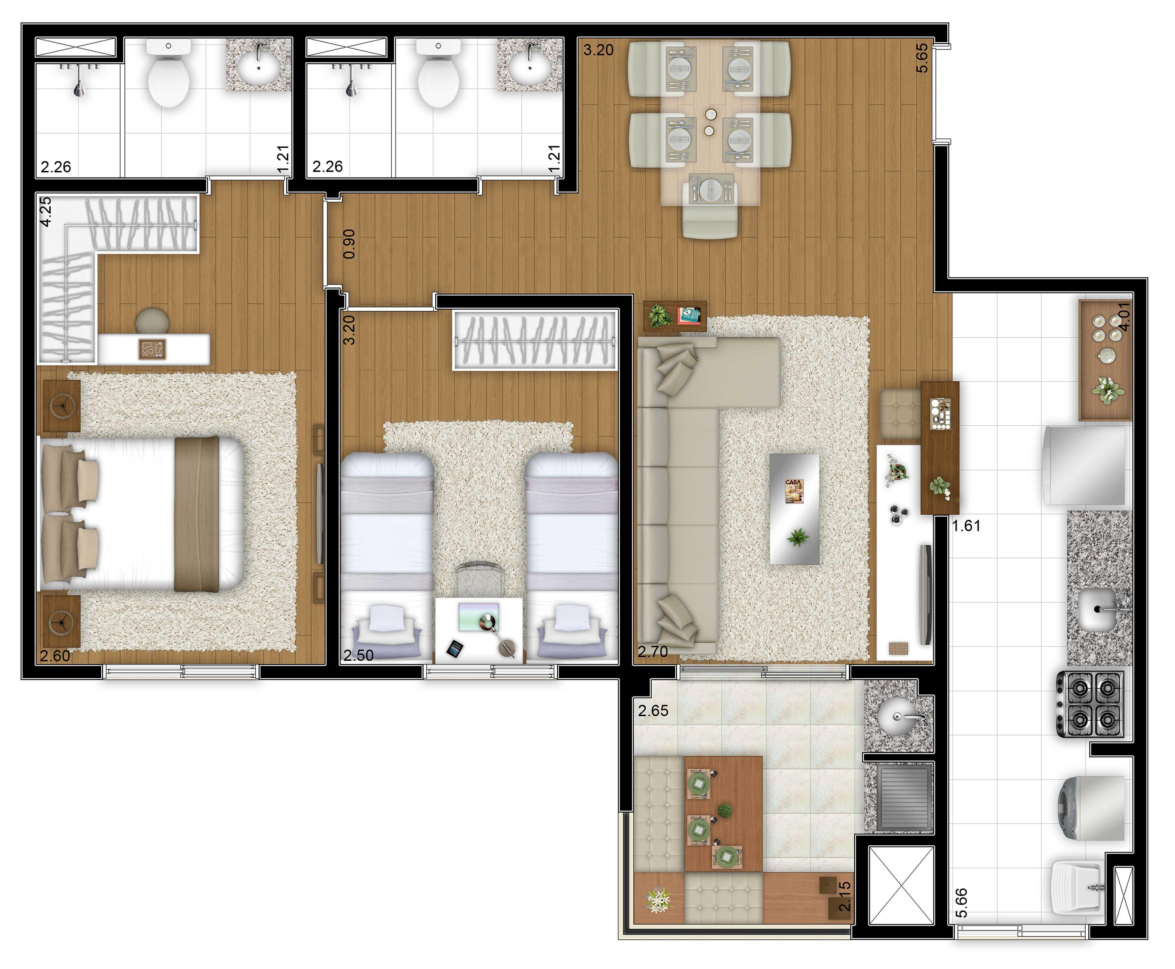 66,49m² - 2 dorms