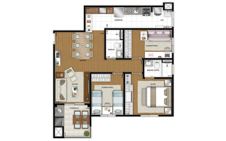80,78m² - 3 dorms