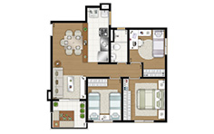 62,83m² - 3 dorms - Flex Osasco II - Tecnisa