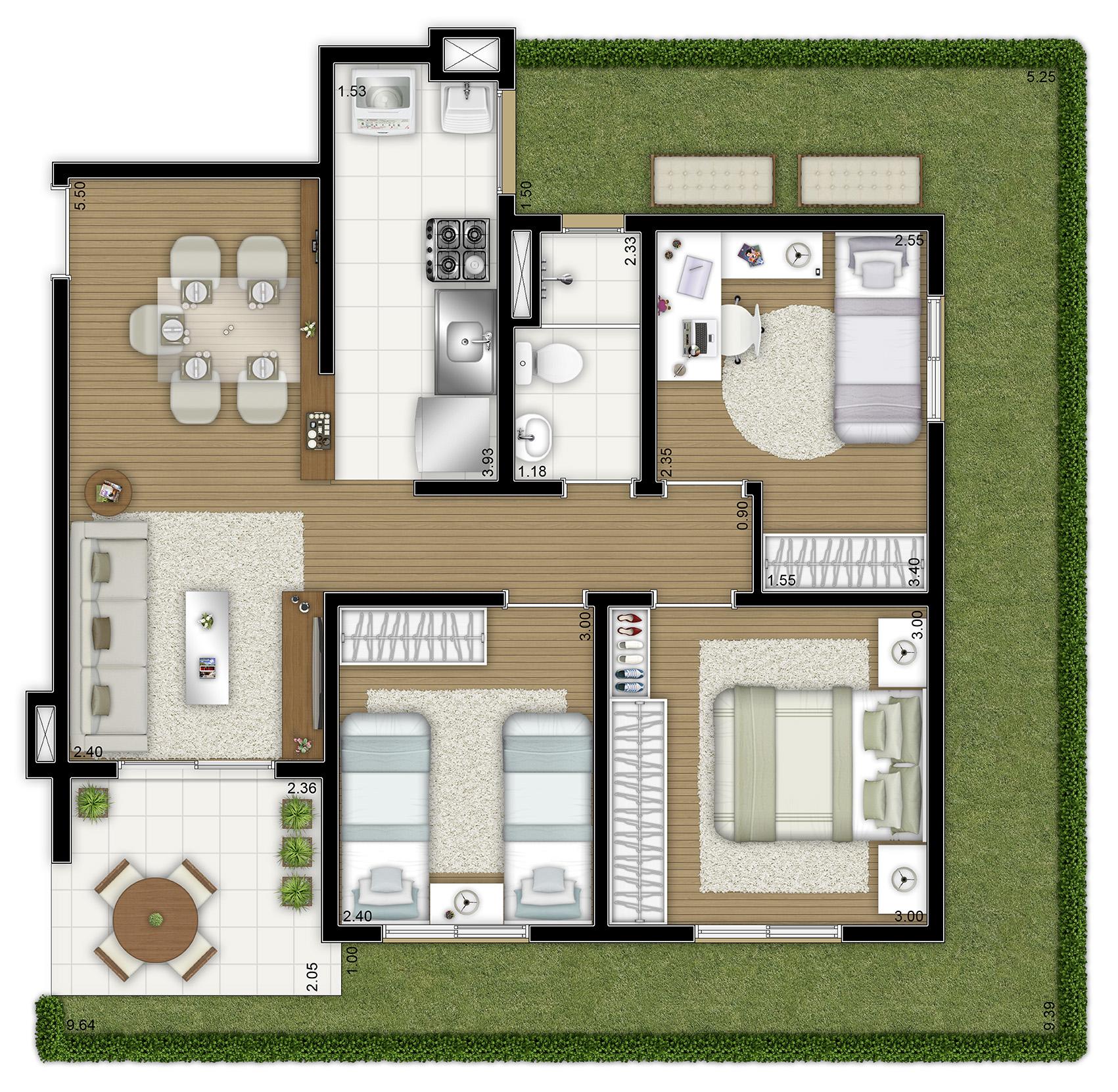 87,30m² - 3 dorms - Garden