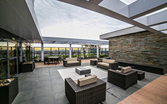 Lounge externo no 32º pavimento exclusivo para o residencial - The Five Home - Tecnisa