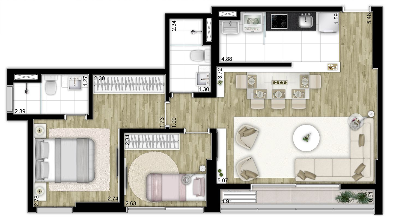 65,74 m² - 2 dorms