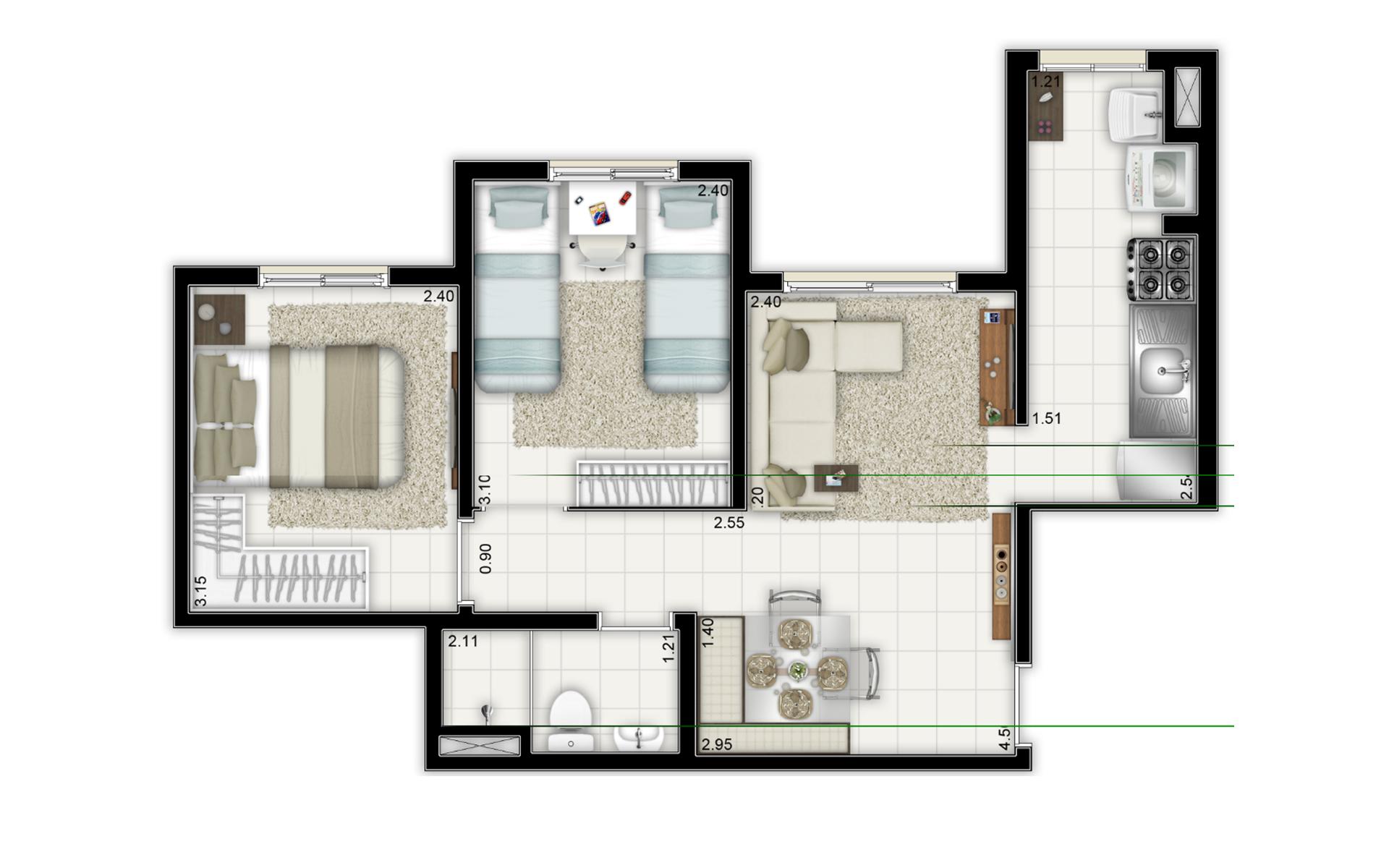 44,43 m² - 2 dorms - Torre B