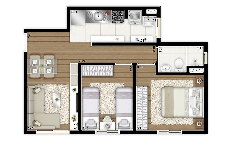 44,90 m² - 2 dorms - Torre B