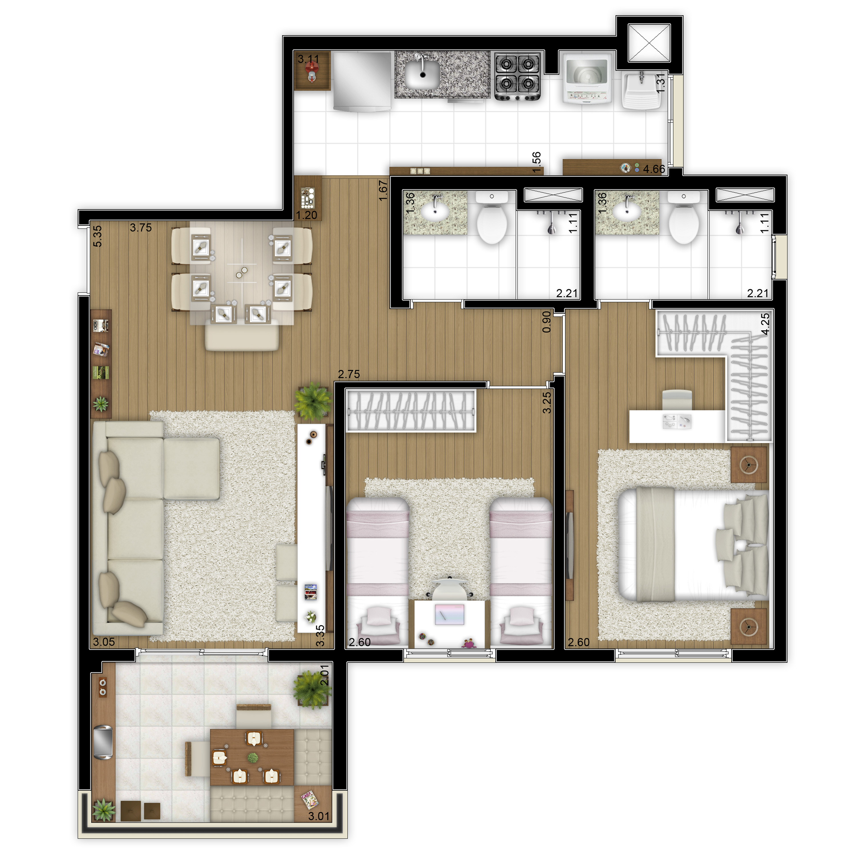 68,07 m² - 2 dorms (1 suíte) - Torre A - Apto ponta