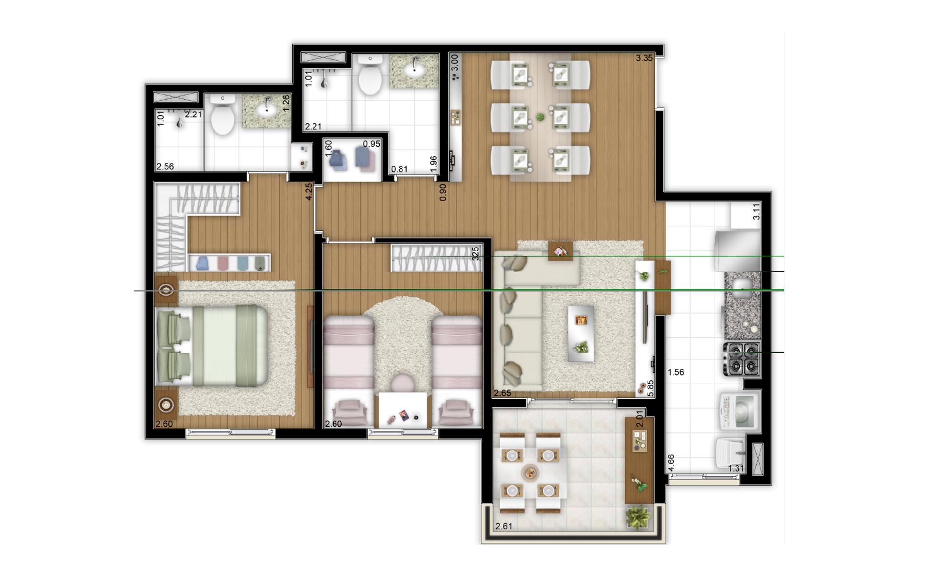 68,07 m² - 2 dorms (1 suíte) - Torre A - Apto meio