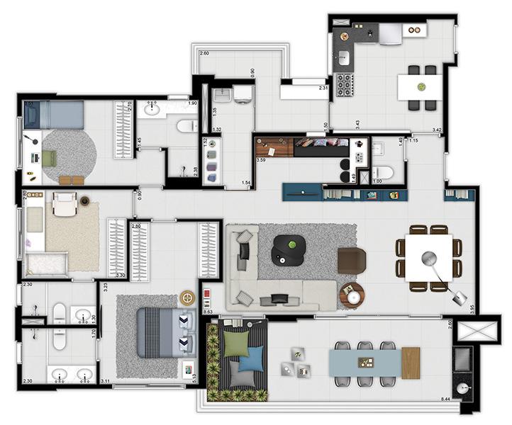 159 m² - 3 suítes - Living ampliado