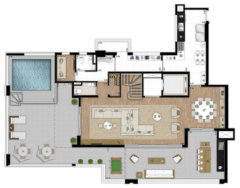 331m² - 4 suítes - Duplex inferior
