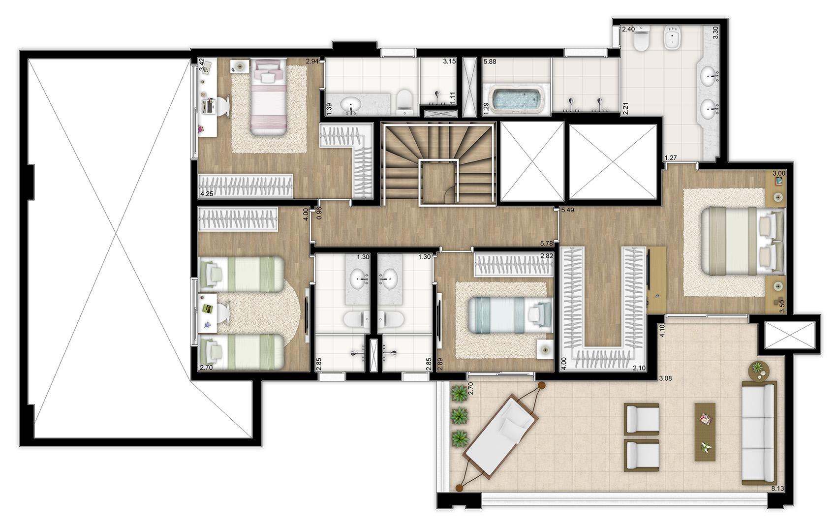 331m² - 4 suítes - Duplex superior