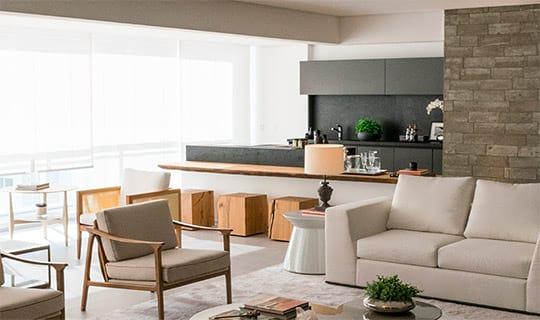 Decorado 241 m²   Varanda e living - Reserva Manacá - Tecnisa