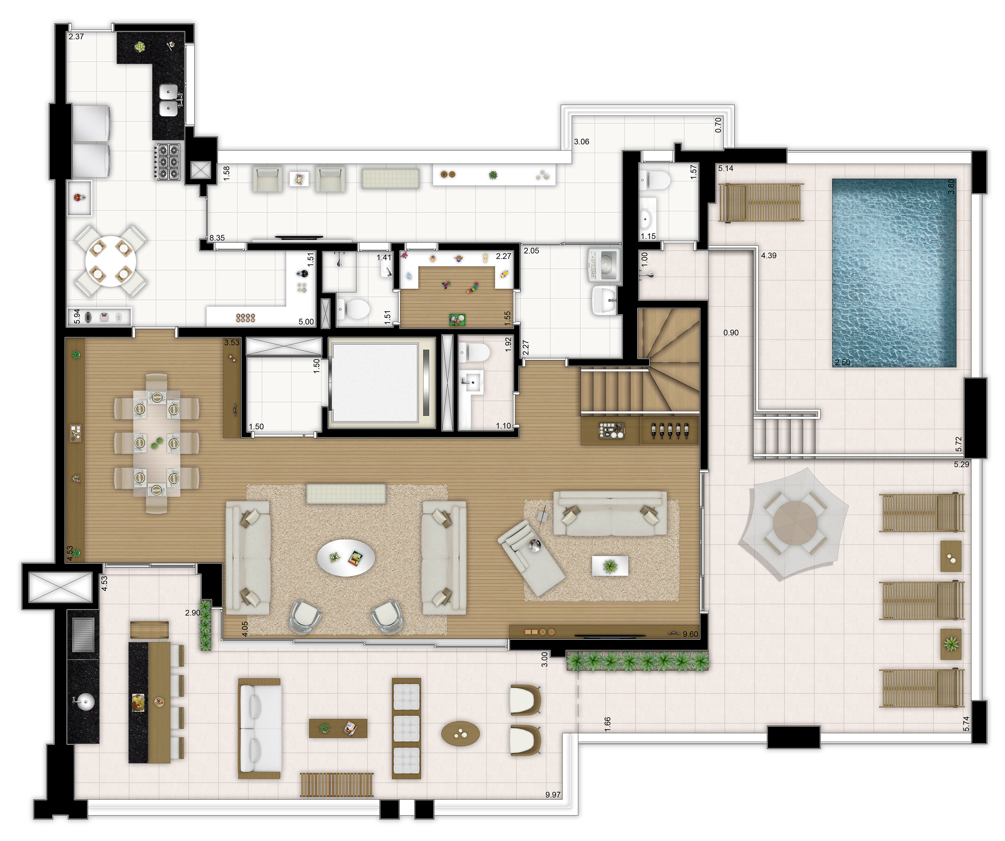 415m² - 4 suítes - Duplex inferior