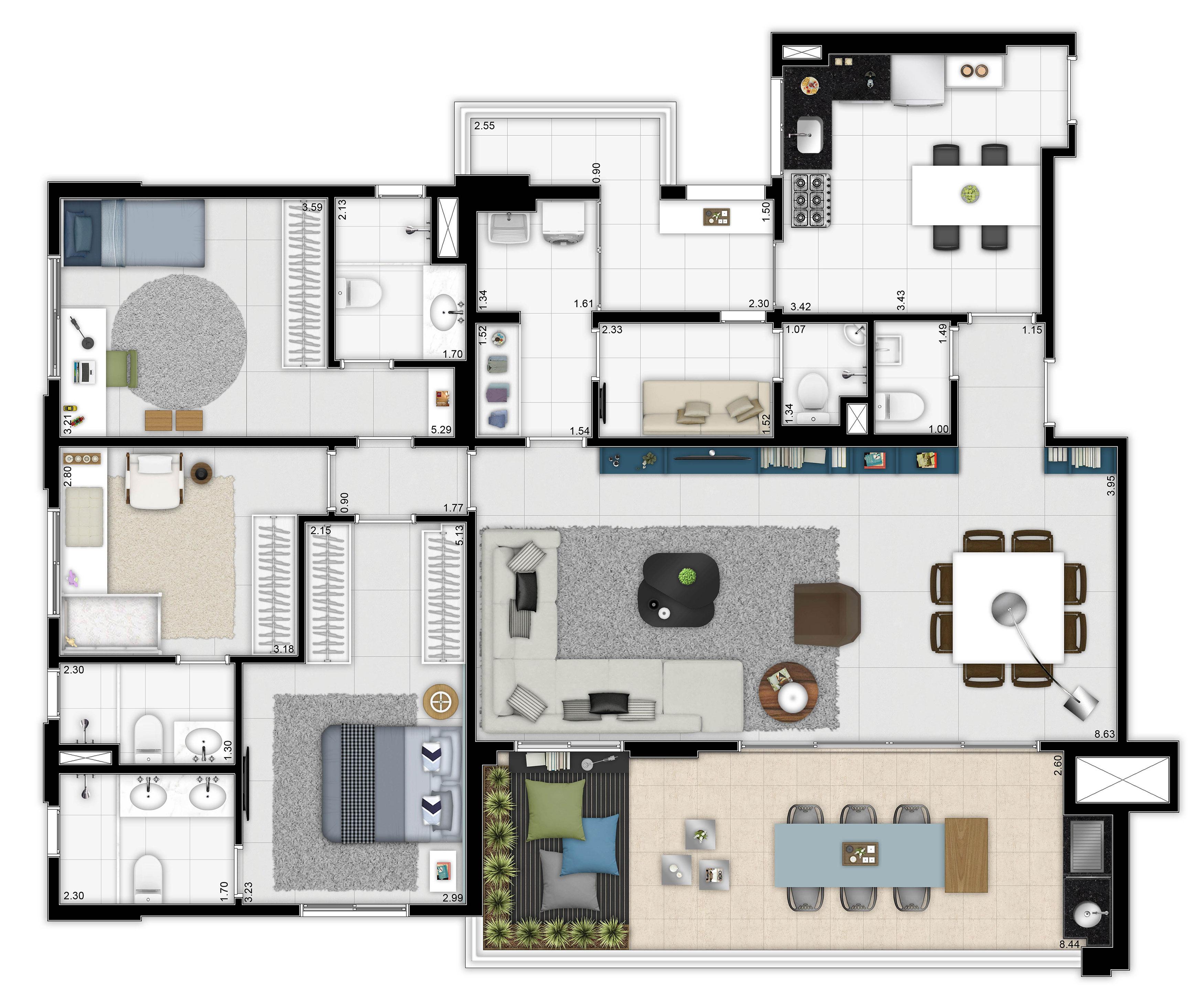 157 m² - 3 suítes - Living ampliado