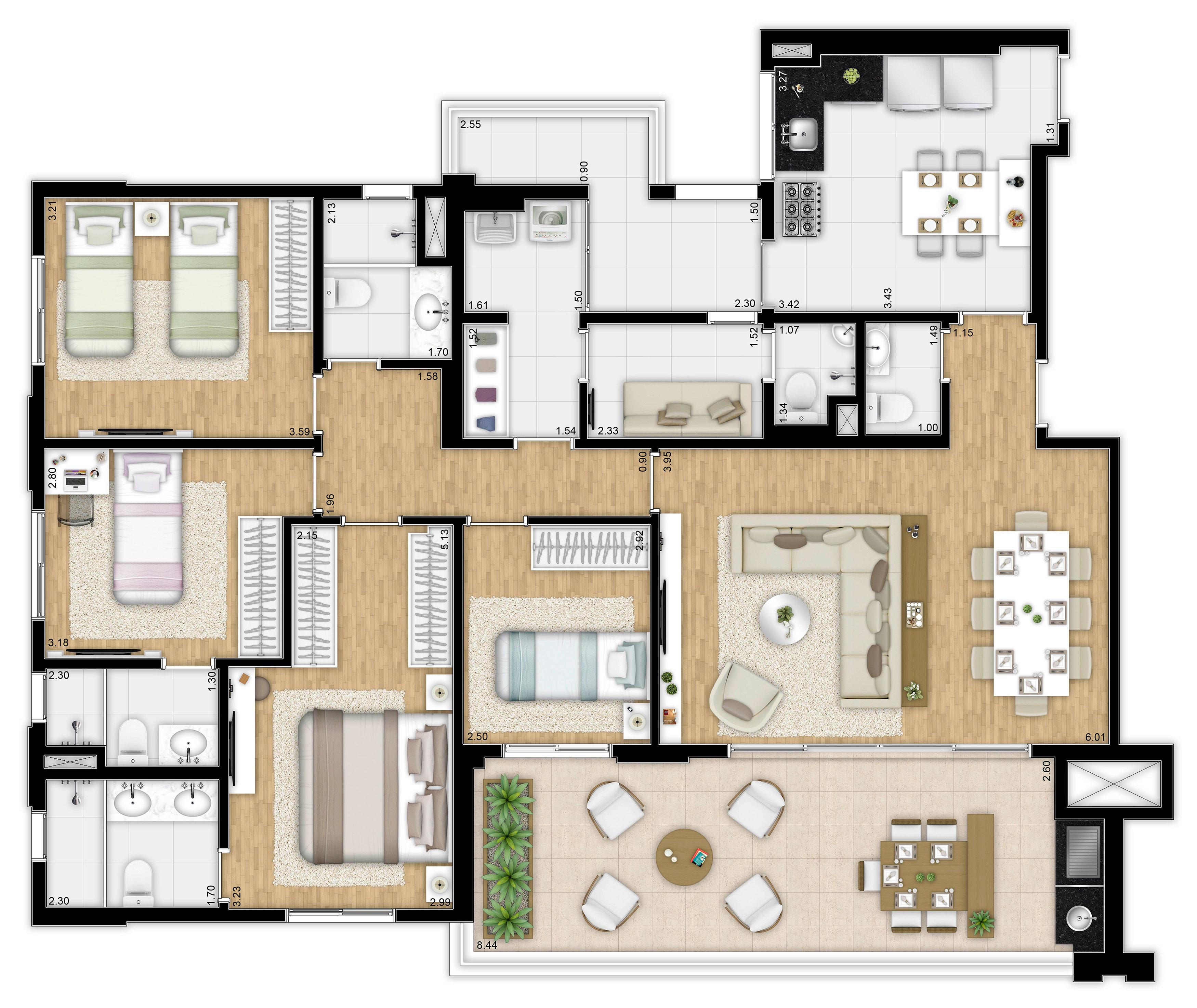 157 m² - 4 dorms - Apto tipo