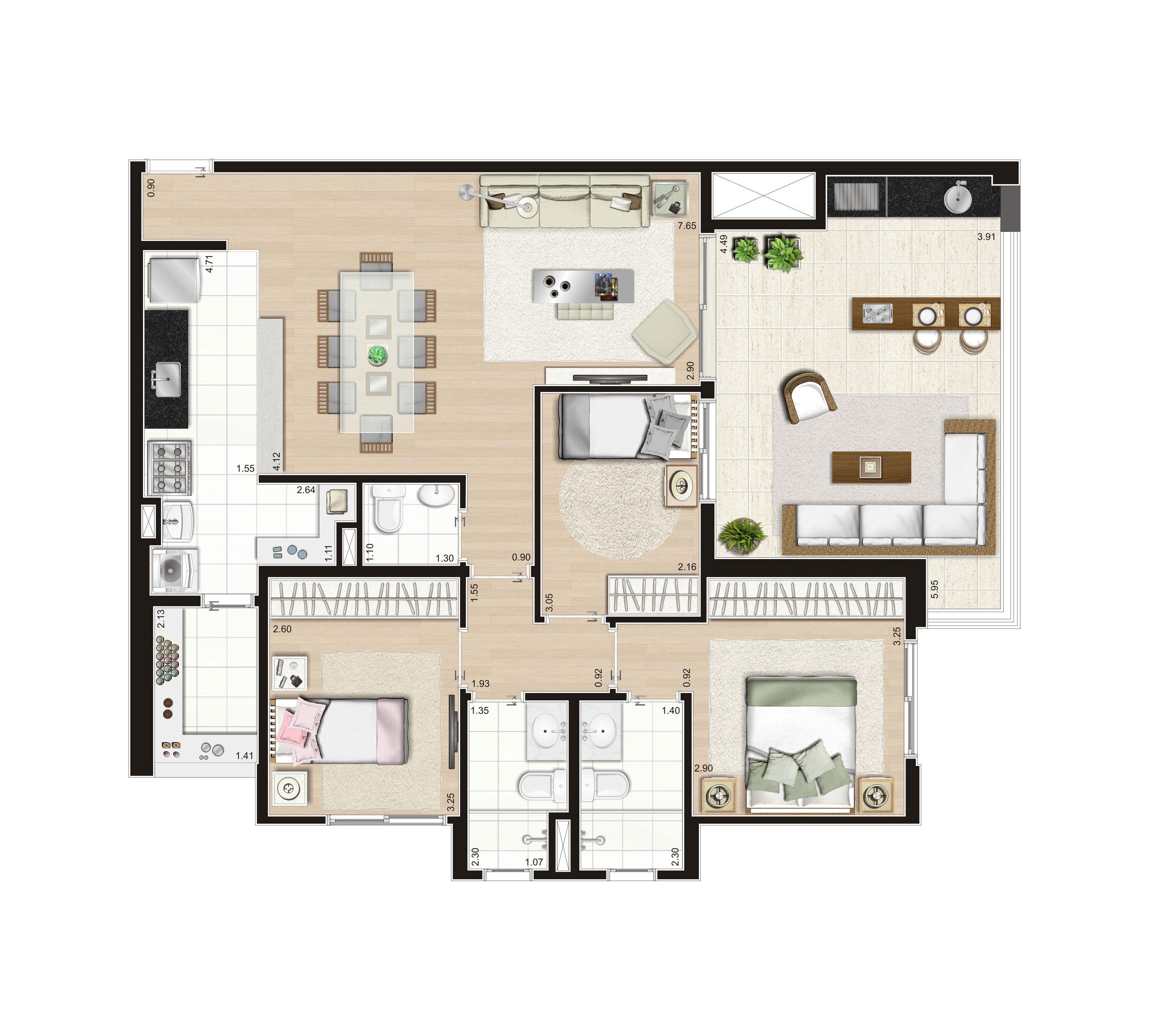 108 m² - 3 dorms