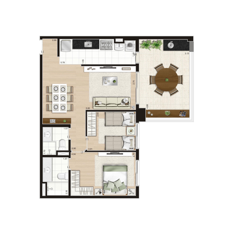 79 m² - 2 dorms