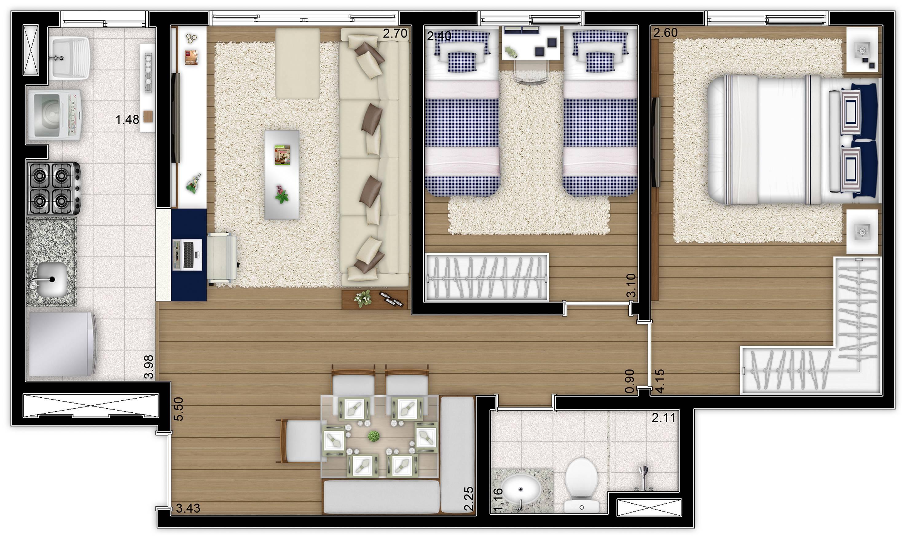 51 m² - 2 dorms - apto tipo