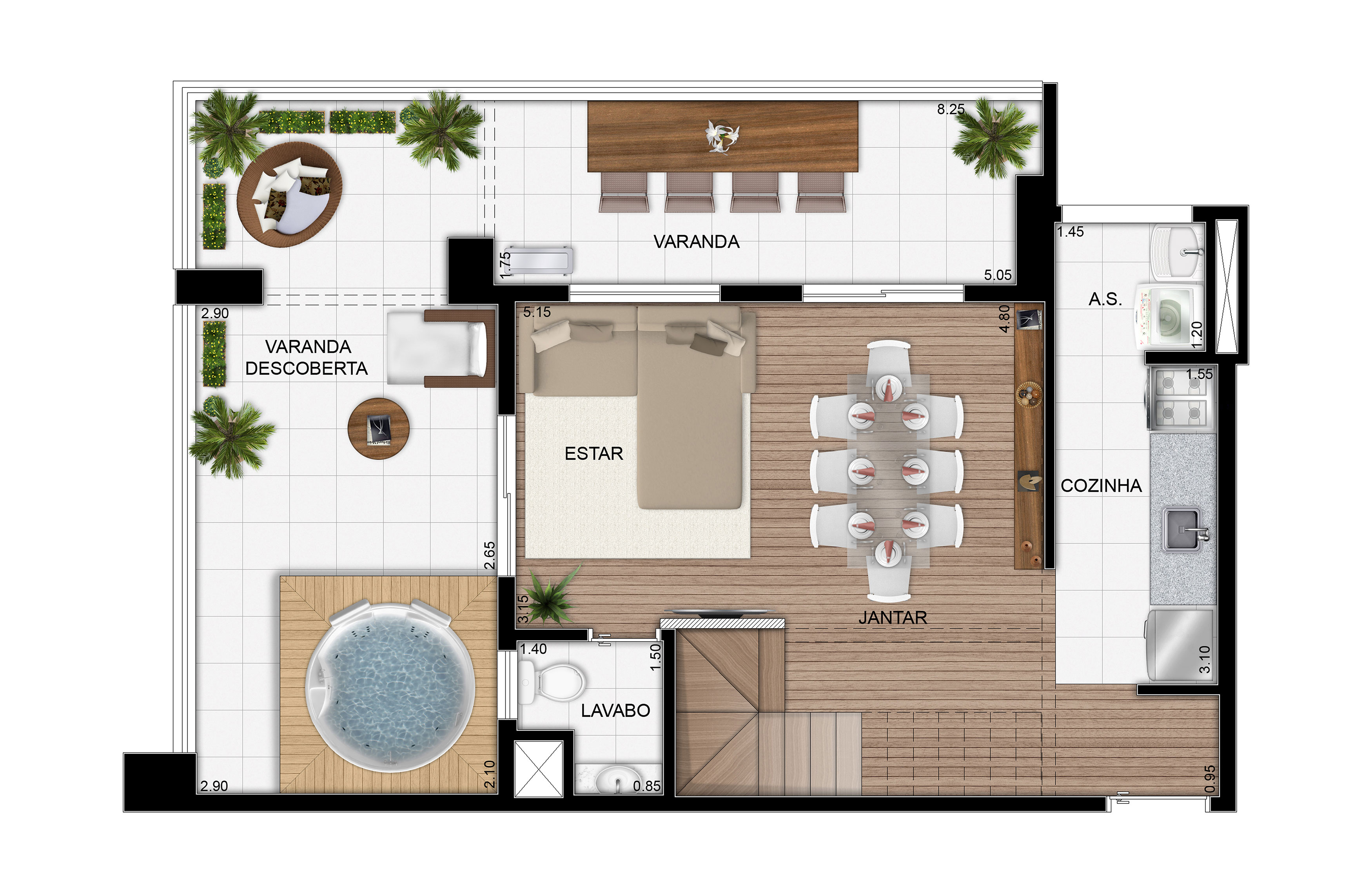 107,25 m²- Duplex inferior