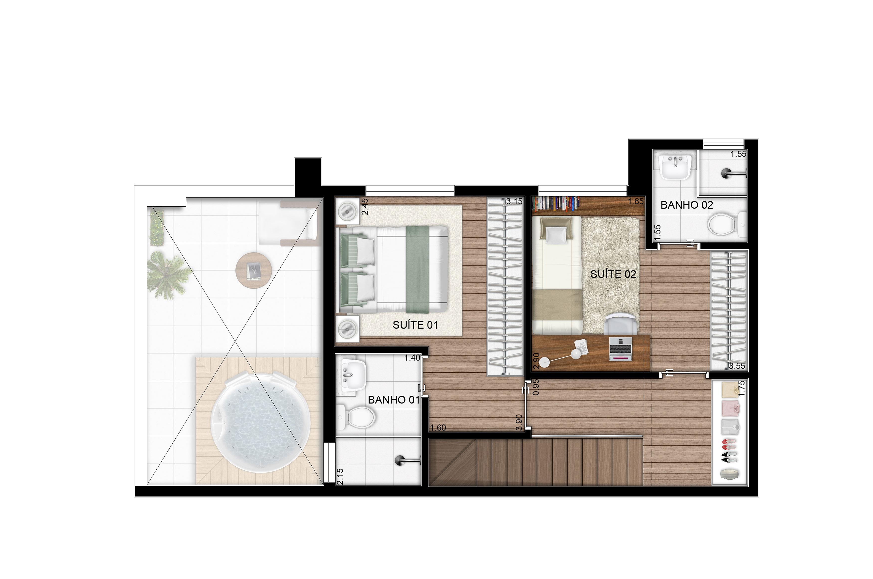 107,25 m² - Duplex superior