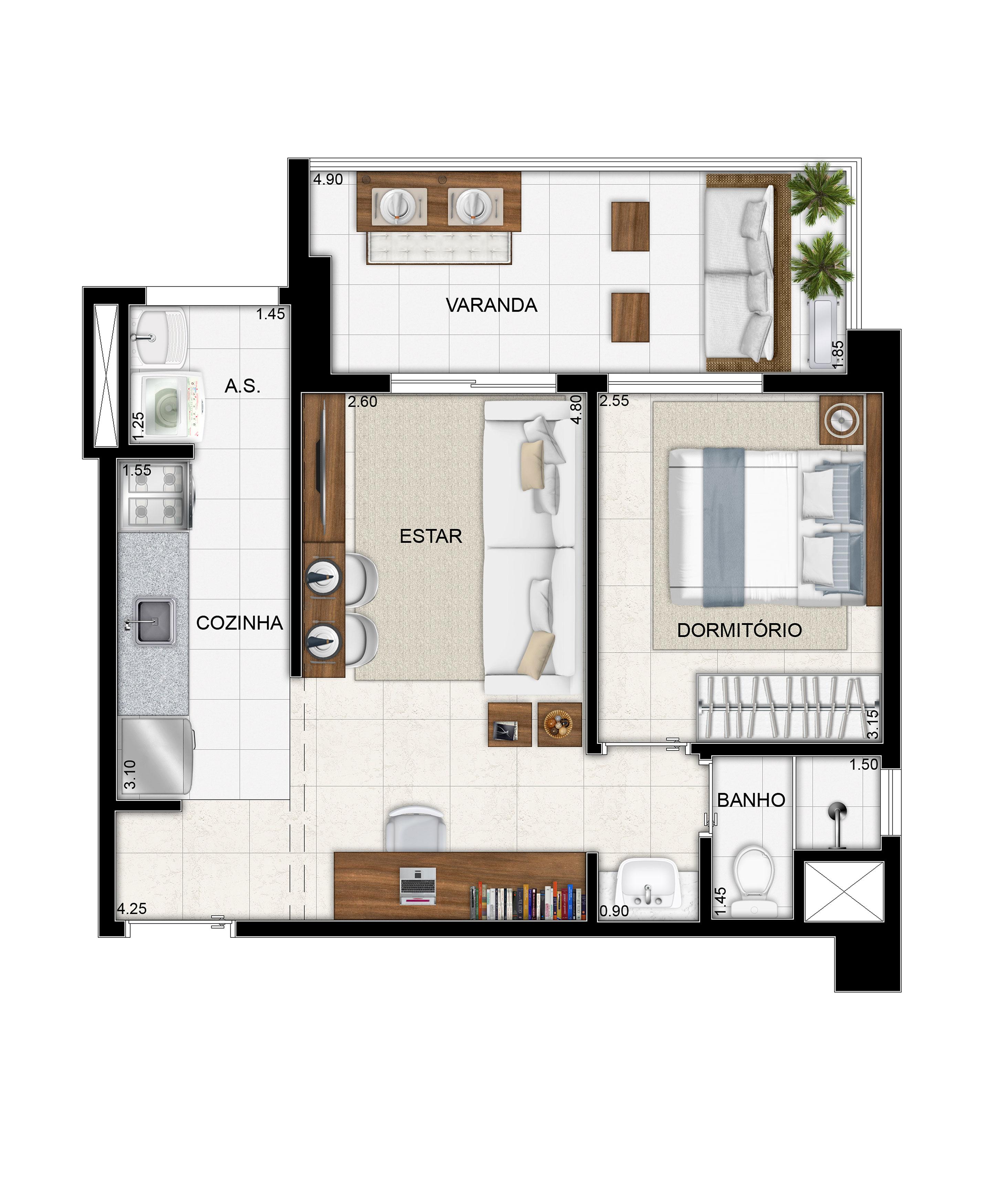 47,70 m² - 1 dorm