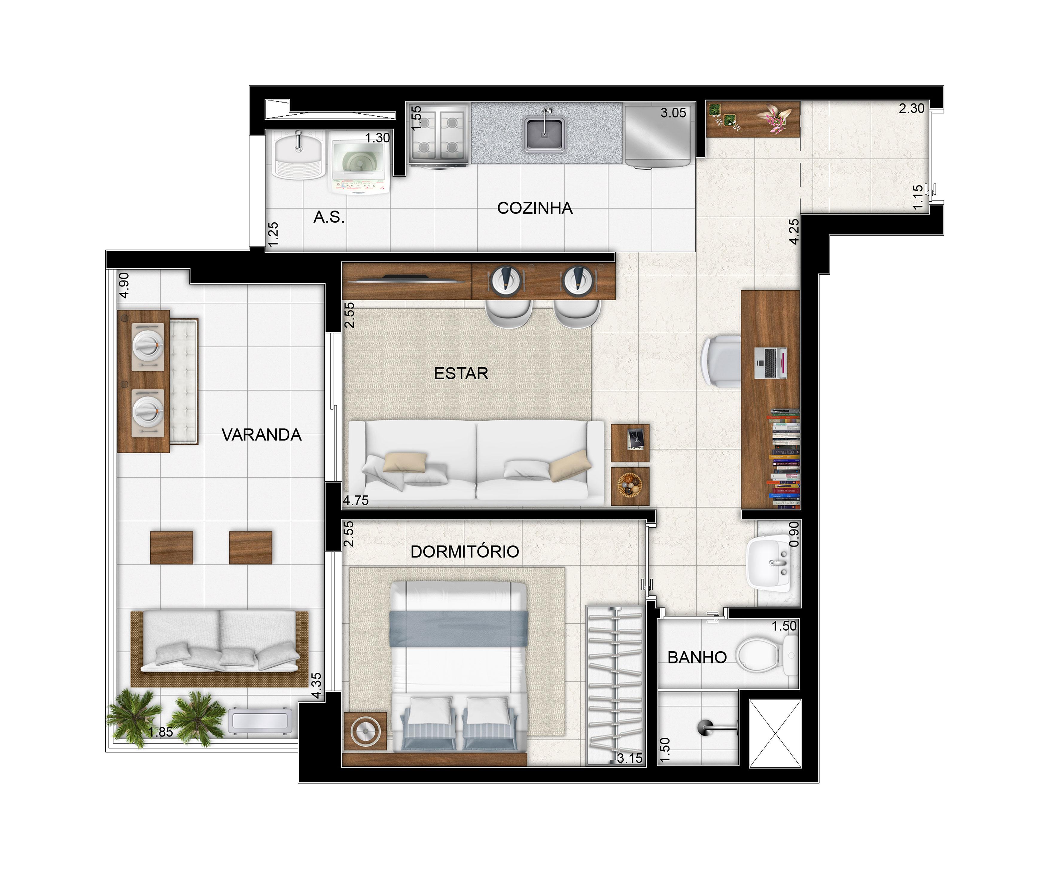 51,44 m² - 1 dorm - Apto tipo com cozinha americana