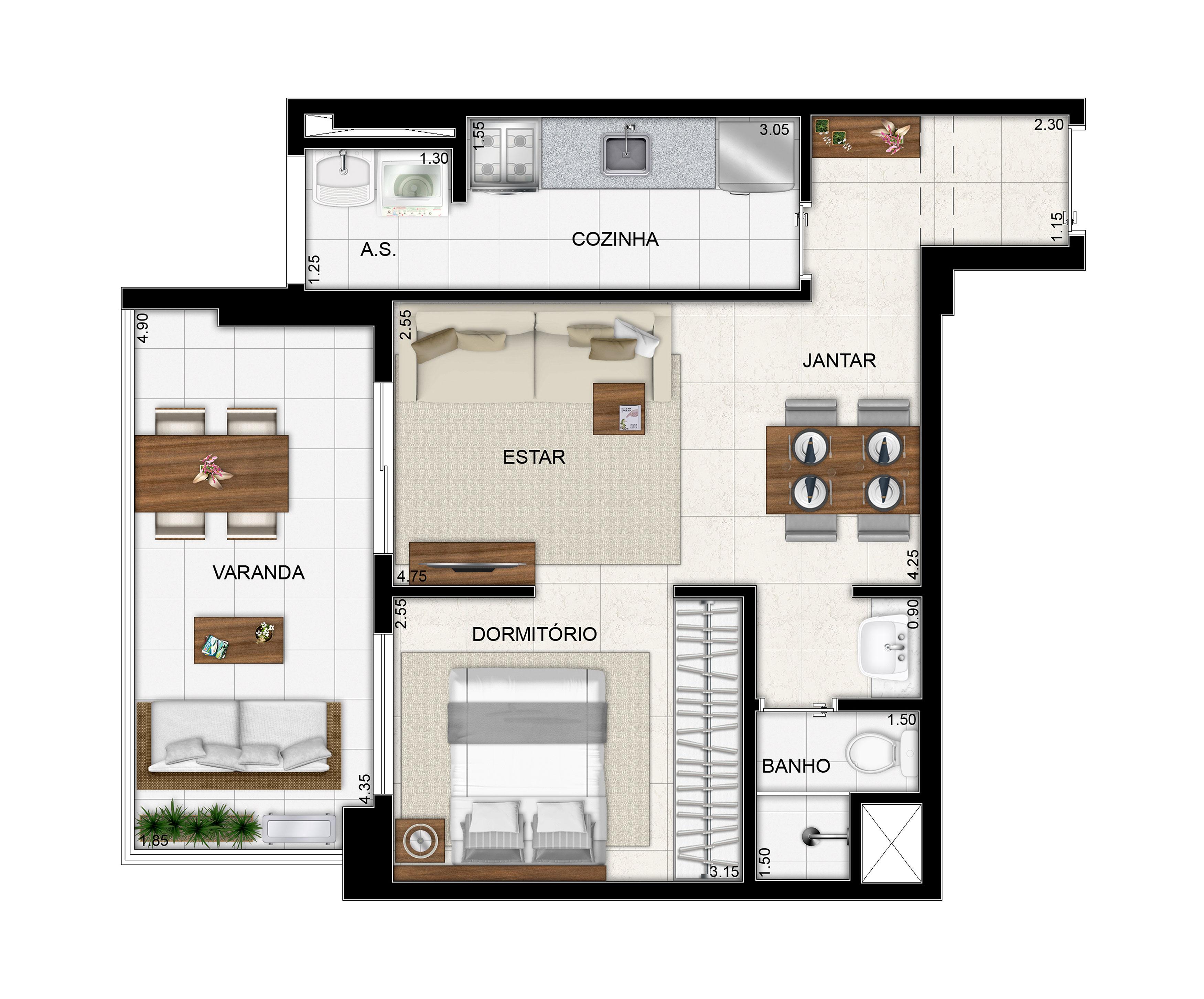 51,44 m² - 1 dorm - Planta opcional