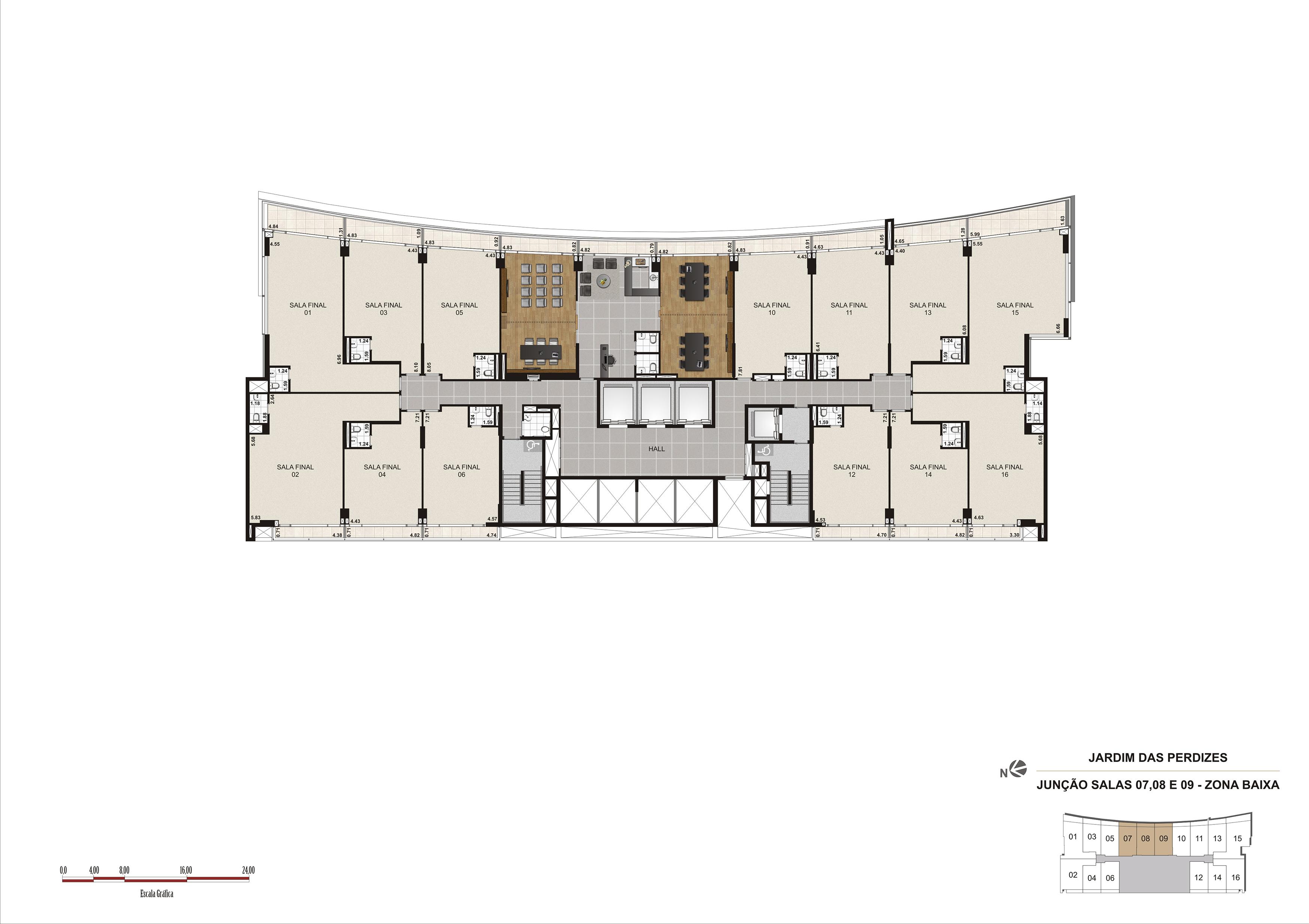 Salas de reunião e café no 1º andar