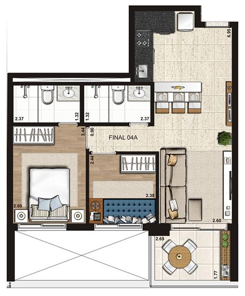 57 m² 2 dorms