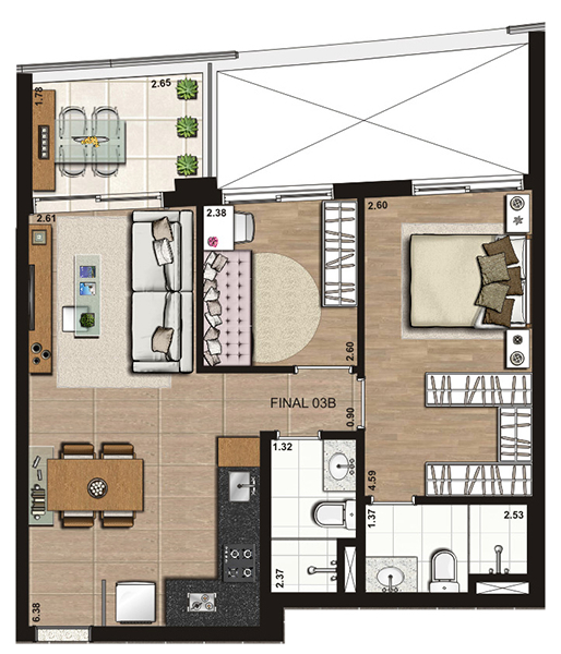 60 m² 2 dorms