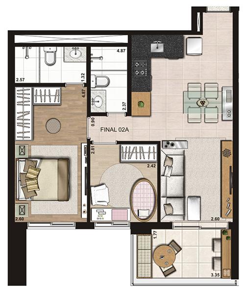 66 m² 2 dorms