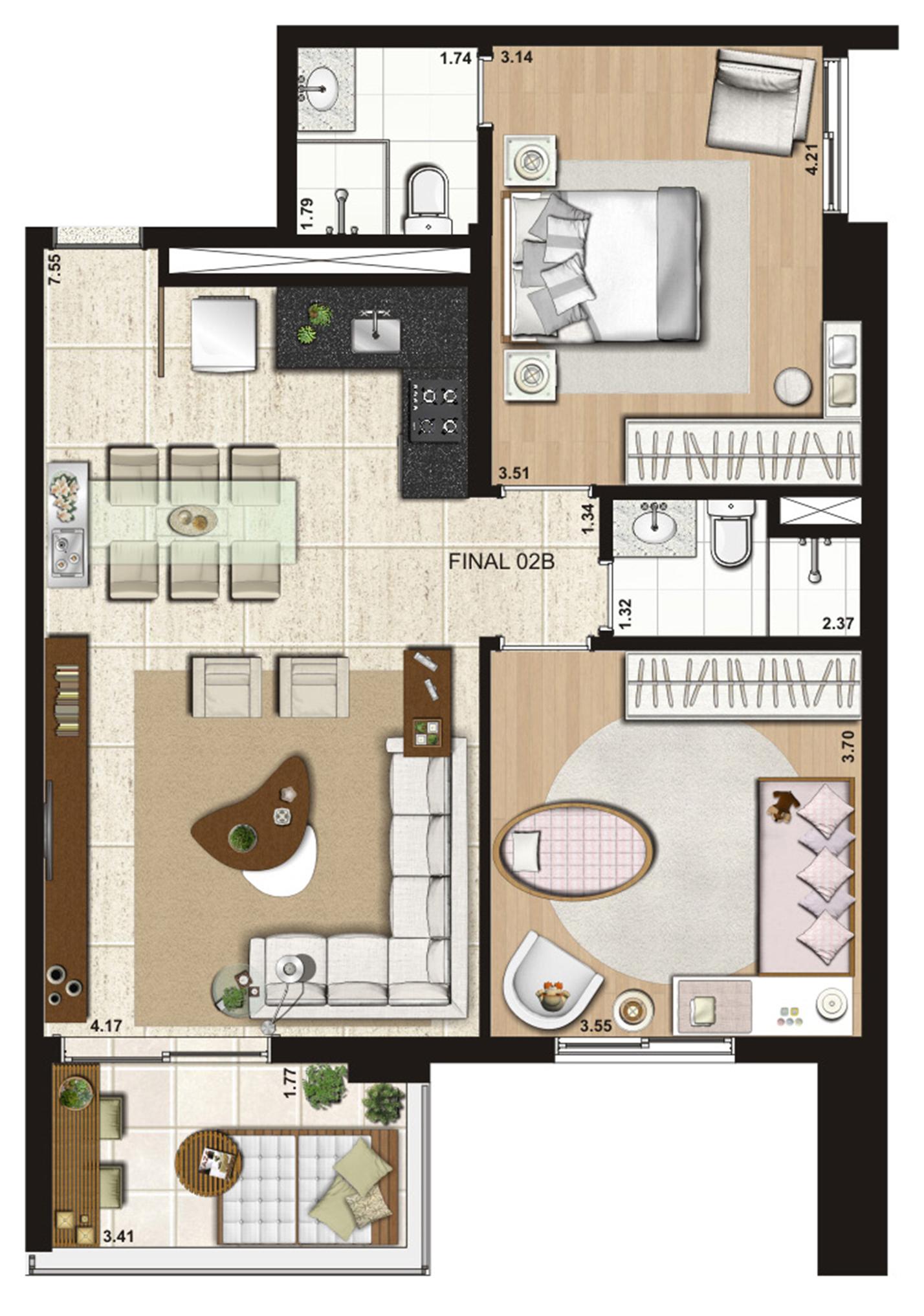 83 m² 2 dorms