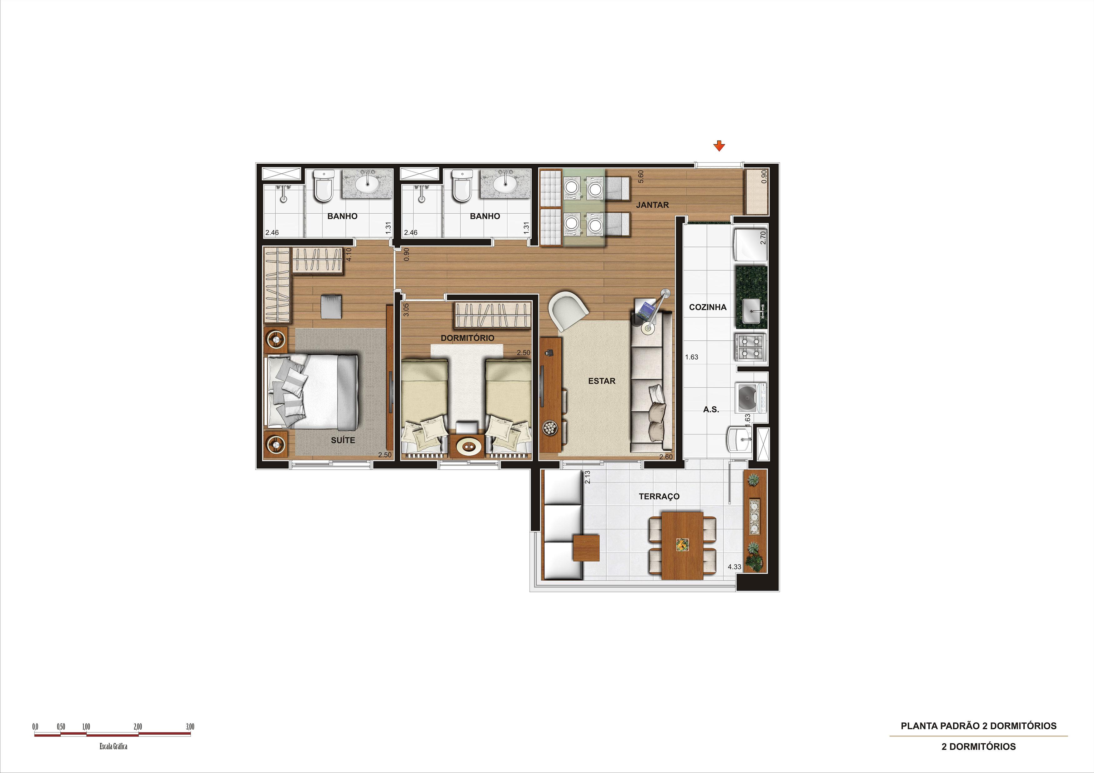 69 m² - 2 dorms - apto tipo