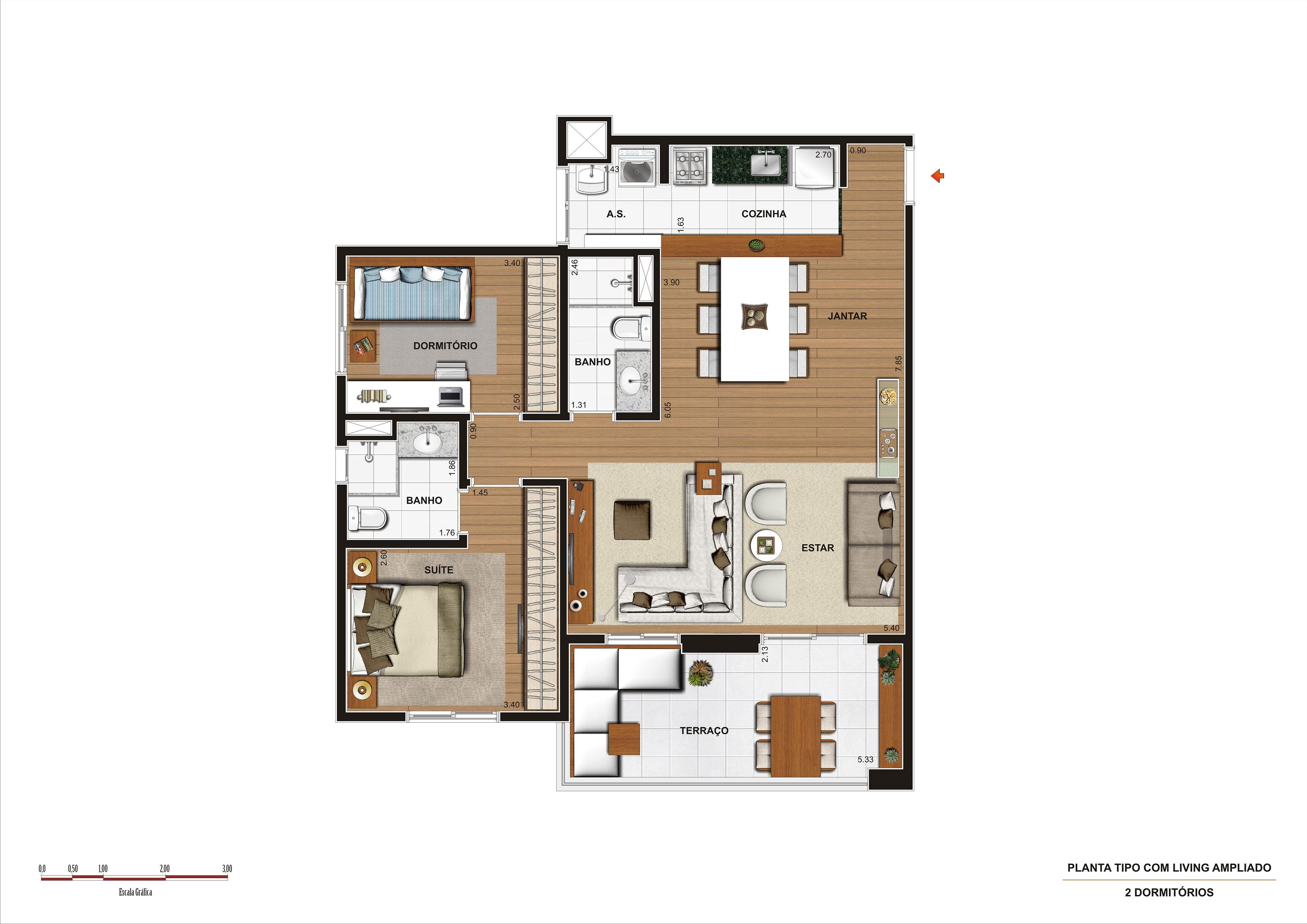 86 m² - 2 dorms - Living ampliado