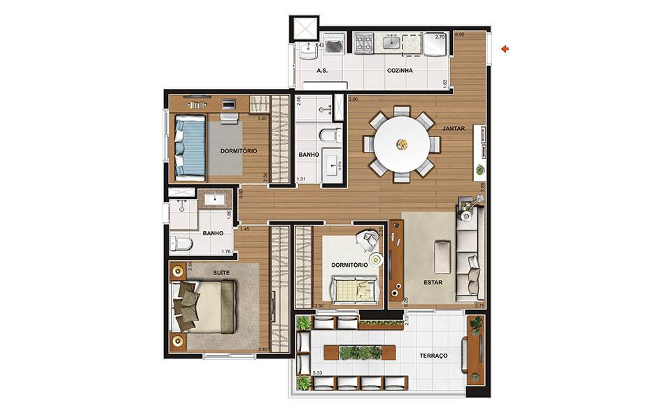 86 m² - 3 dorms - Apto decorado
