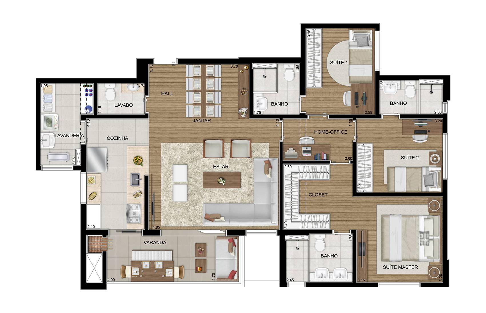 117 m² - 3 suítes - Apto decorado
