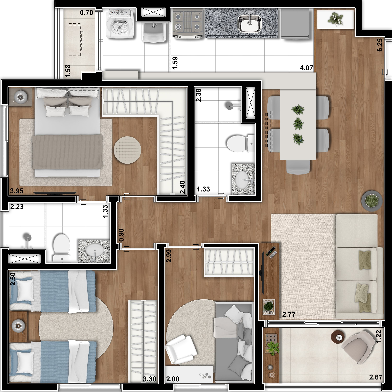 71 m²