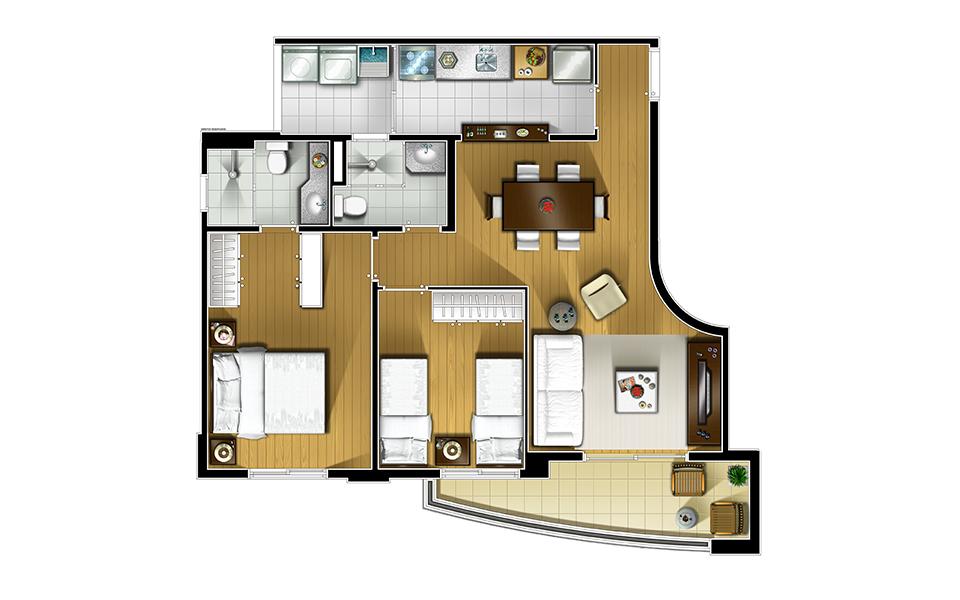 67m²-2 dorms